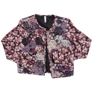 Quilted floral bomber jacket w/ mesh-like sleeves by No Boundaries / Junior's XS